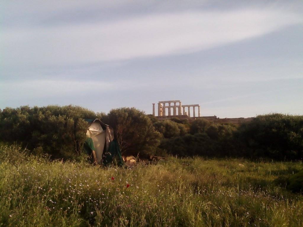 Τσαντίρι στον αρχαιολογικό χώρο του Σουνίου