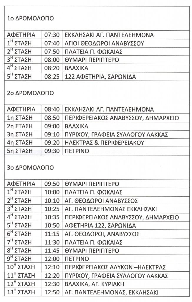 Δρομολόγια Δημοτικής συγκοινωνίας Ανάβυσσο - Σαρωνίδα - Φώκαια